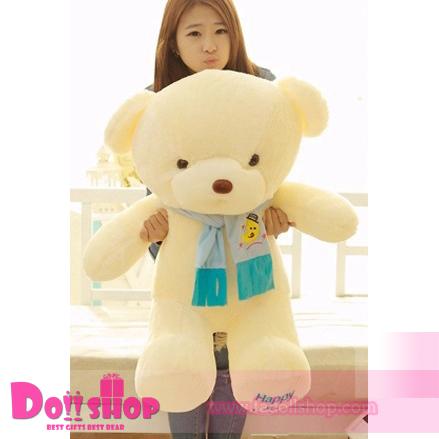 ตุ๊กตาหมีผูกผ้าพันคอสีฟ้า 0.8 เมตร