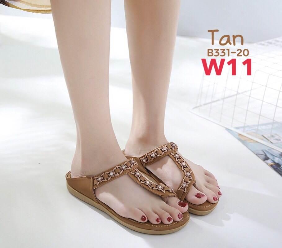 รองเท้าแตะแฟชั่น แบบสวมนิ้วโป้ง แต่งอะไหล่สวยหรู หนังนิ่ม ทรงสวย ใส่สบาย แมทสวยได้ทุกชุด (B331-20)