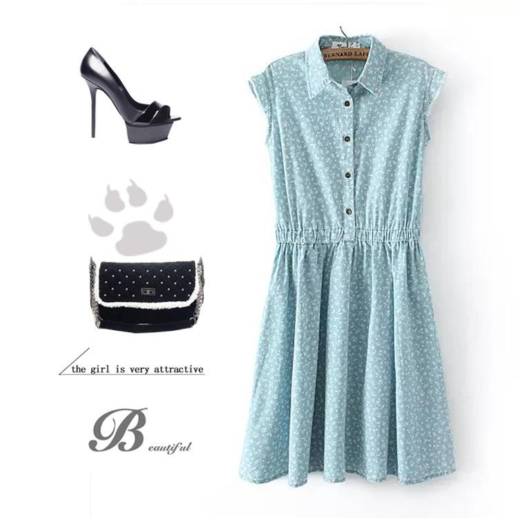 **พรีออเดอร์** ชุดเดรสยีนส์ผู้หญิงแฟชั่นยุโรปใหม่ แขนกุดลายดอกไม้ แบบเก๋ เท่ห์ / **Preorder** New European Fashion Floral Printed Sleeveless Denim Dress