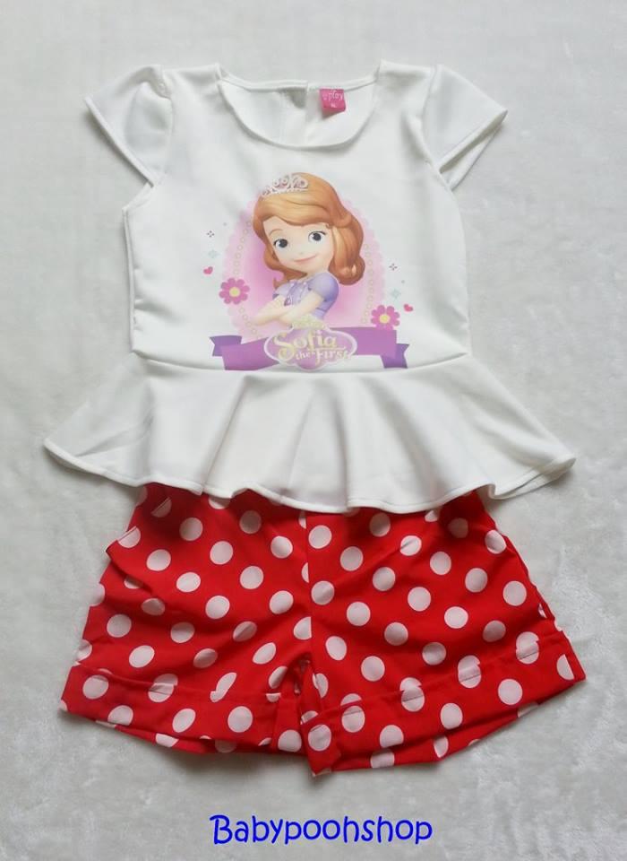 Ploy : set เสื้อพิมพ์ลายเจ้าหญิงโซเฟีย+กางเกงลายจุด สีแดง