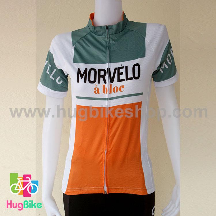 เสื้อจักรยานผู้หญิงแขนสั้น Morvelo 16 (01) สีขาวเทาส้ม