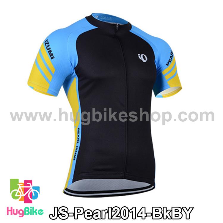 เสื้อจักรยานแขนสั้นทีม Pearl Izumi 2014 สีดำฟ้าเหลือง สั่งจอง (Pre-order)