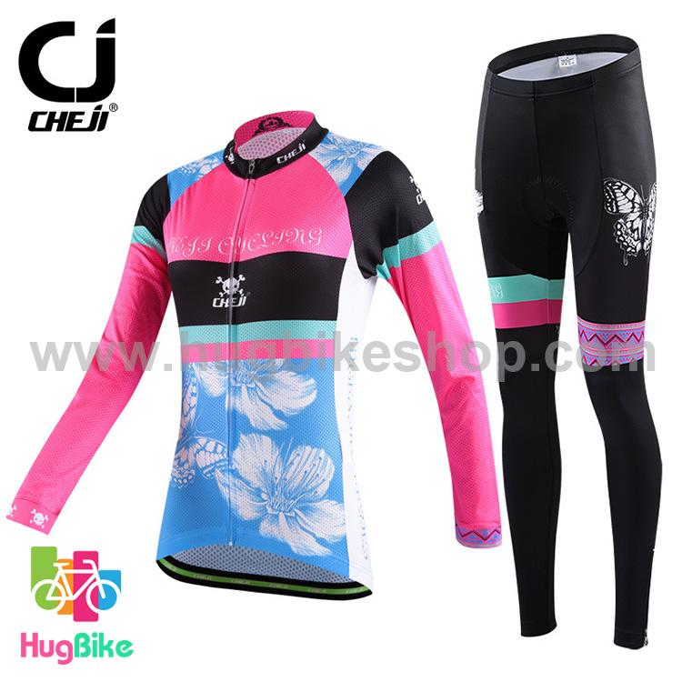 ชุดจักรยานผู้หญิงแขนยาวขายาว CheJi 15 (05) สีชมพูดำฟ้าลายผีเสื้อ