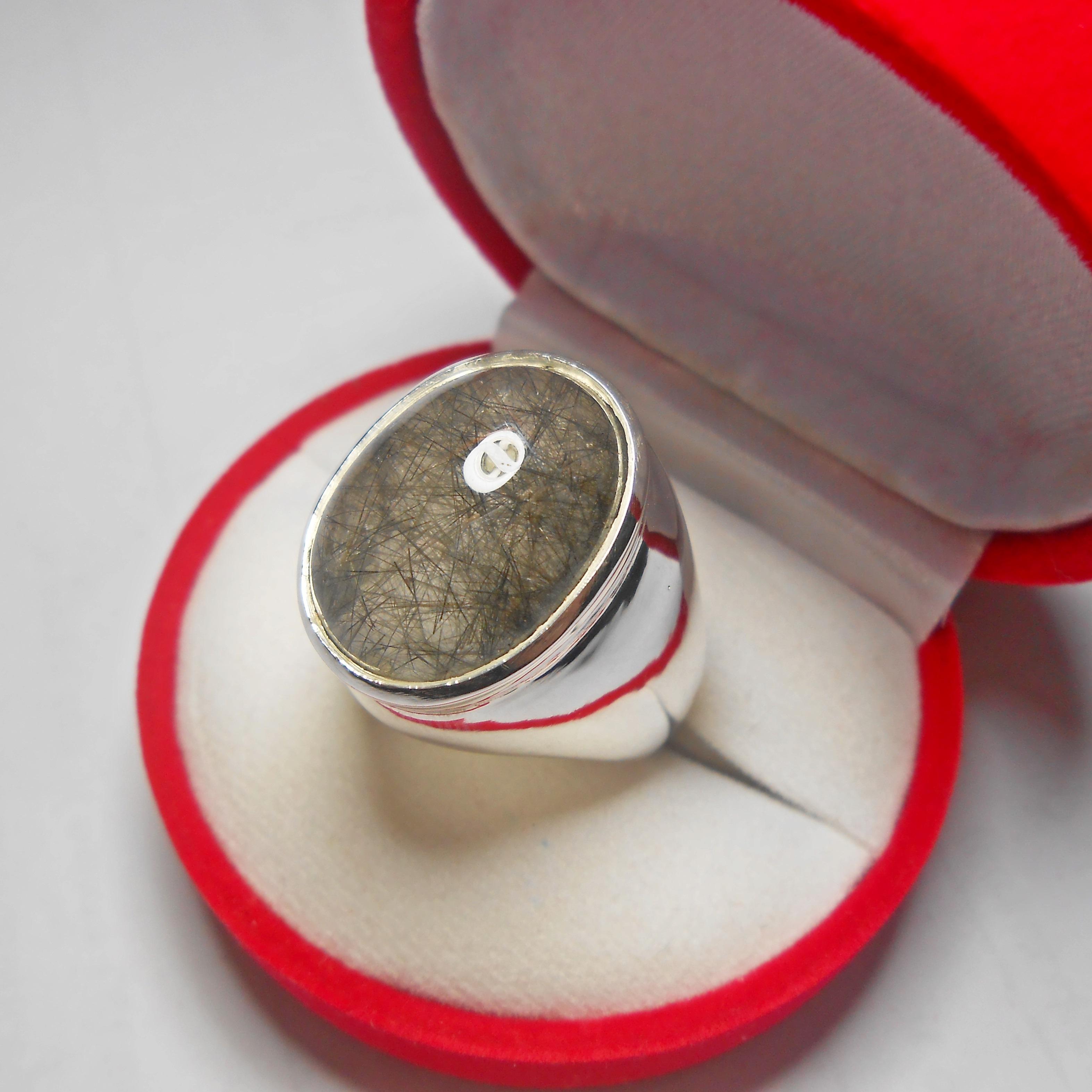 ขาย แหวนเงินแท้แก้วขนเหล็ก เส้นสวย น้ำงาม
