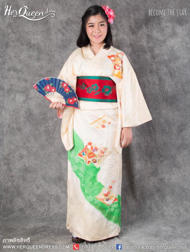 เช่าชุดแฟนซี &#x2665 ชุดญี่ปุ่น กิโมโน สีครีม มีลวดลายญี่ปุ่นโทนเขียว
