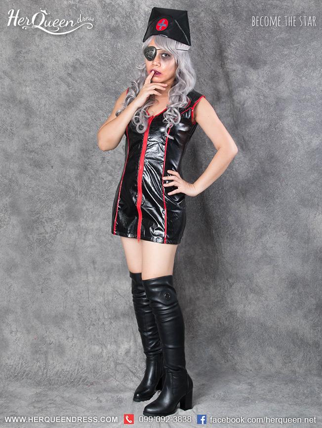 เช่าชุดแฟนซี &#x2665 ชุดแฟนซี ฮาโลวีน พยาบาลหนังสีดำ ขลิบแดง