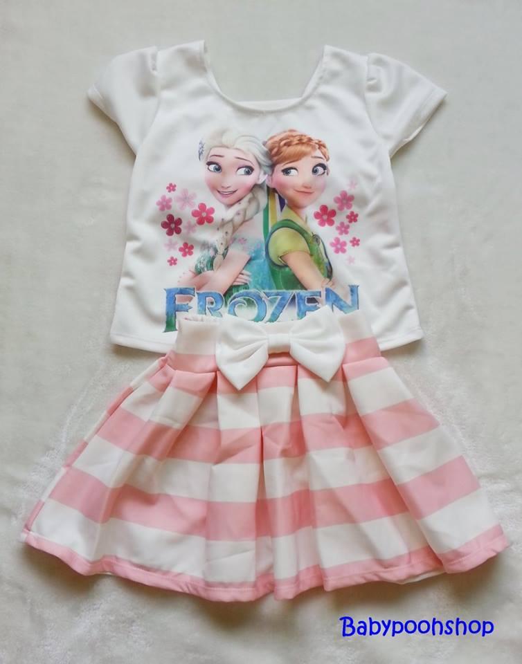 Ploy : Set เสื้อพิมพ์ลาย เจ้าหญิง Anna&Elsa+กระโปรงลายขวางสีชมพู