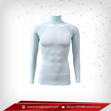 Body Fit / Base Layer เสื้อรัดรูป คอตั้ง แขนยาว สีฟ้า-เทา lightcyan