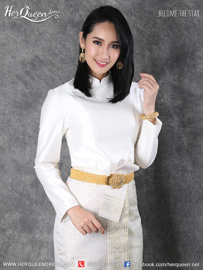 เช่าชุดไทย &#x2665 ชุดไทยบรมพิมาน - สีงาช้าง ผ้าถุงสำเร็จ หน้านาง สีครีมดิ้นทอง
