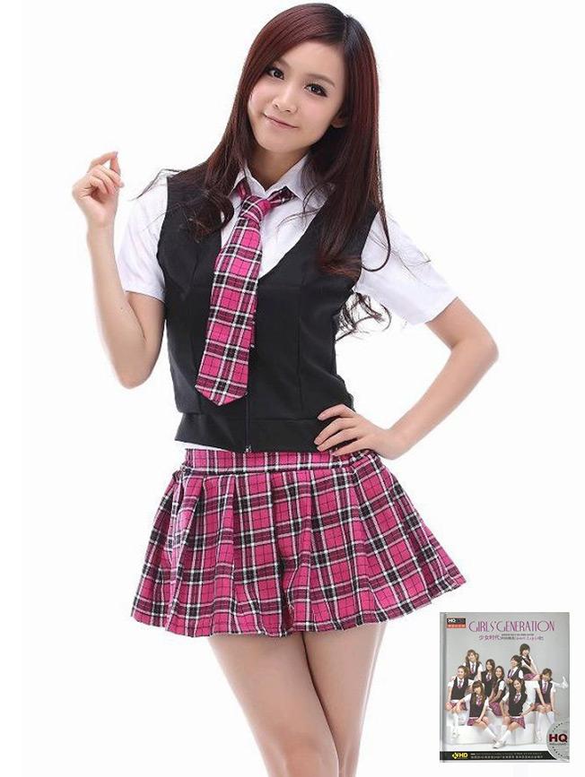 เช่าชุดแฟนซี &#x2665 ชุดแฟนซี นักเรียนเกิร์ลเจนเนอเรชั่น กระโปรงสก๊อตชมพู SNSD