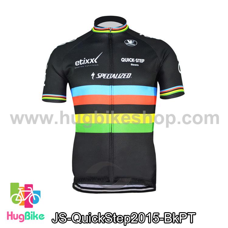 เสื้อจักรยานแขนสั้นทีม QuickStep 2015 ดำลาย สั่งจอง (Pre-order)