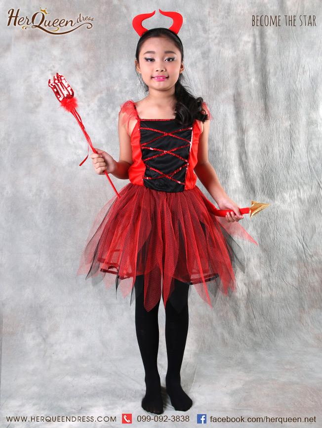 เช่าชุดแฟนซี &#x2665 ชุดแฟนซีเด็ก ฮาโลวีน ชุดเดวิล สีแดงดำ พร้อมเขาและหางเดวิล