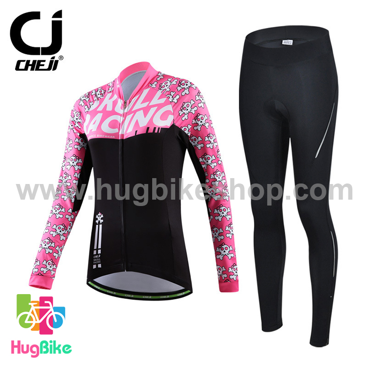 ชุดจักรยานผู้หญิงแขนยาวขายาว CheJi 15 (04) สีชมพูดำ Skull recing สั่งจอง (Pre-order)