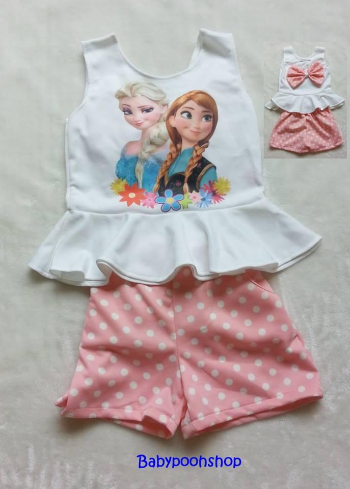 Ploy : set เสื้อพิมพ์ลายเจ้าหญิง Anna&Elsa + กางเกงลายจุดสีชมพู