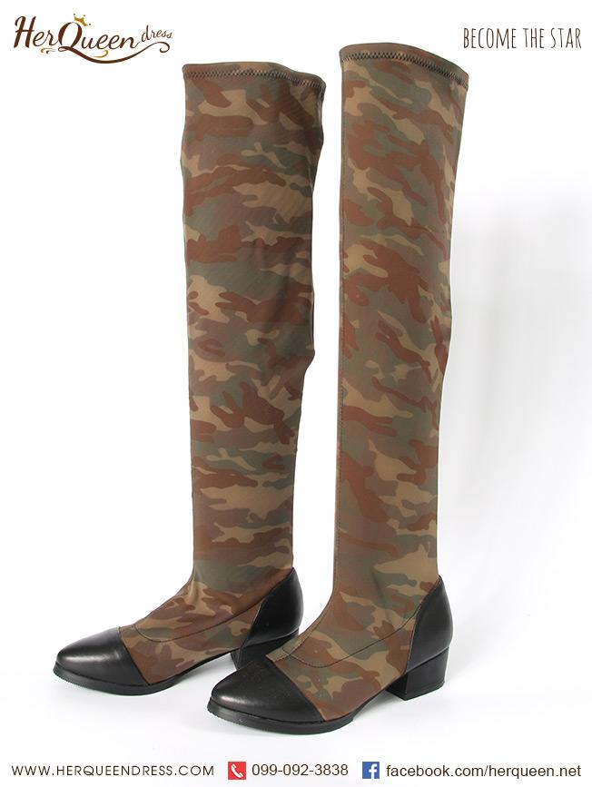 เช่ารองเท้า &#x2665 รองเท้าบู๊ท ลายทหาร ยาวเลยเข่า