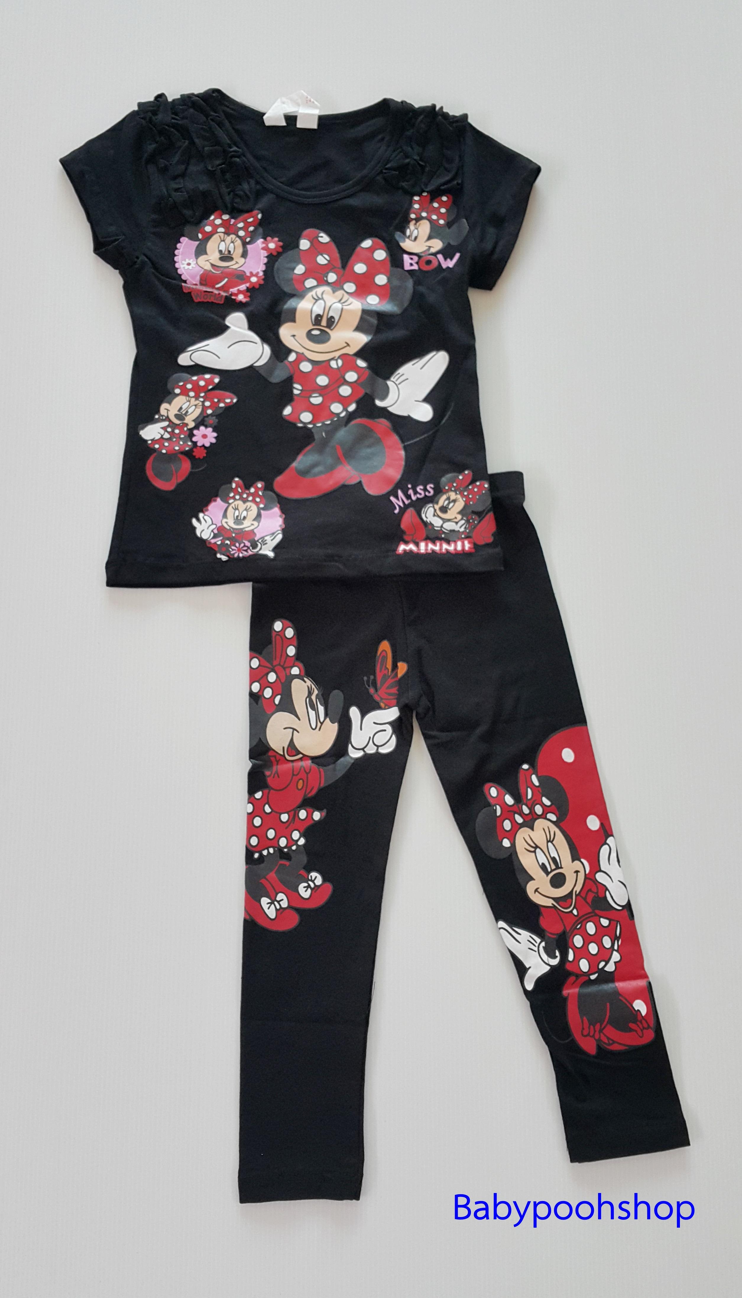 H&M : set เสื้อแขนสั้น+เลกกิ้ง สกรีนลายมินนี่เมาส์ สีดำ size : 2-4y / 4-6y