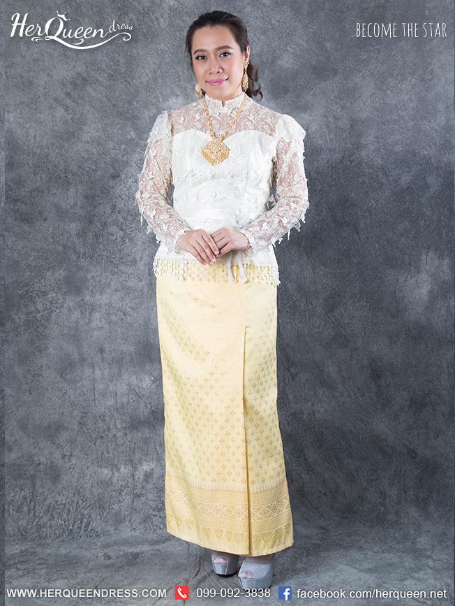 เช่าชุดไทย &#x2665 ชุดไทย ร.5 เสื้อลูกไม้ฝรั่งเศสลายนก สีขาว ผ้าถุงยาว