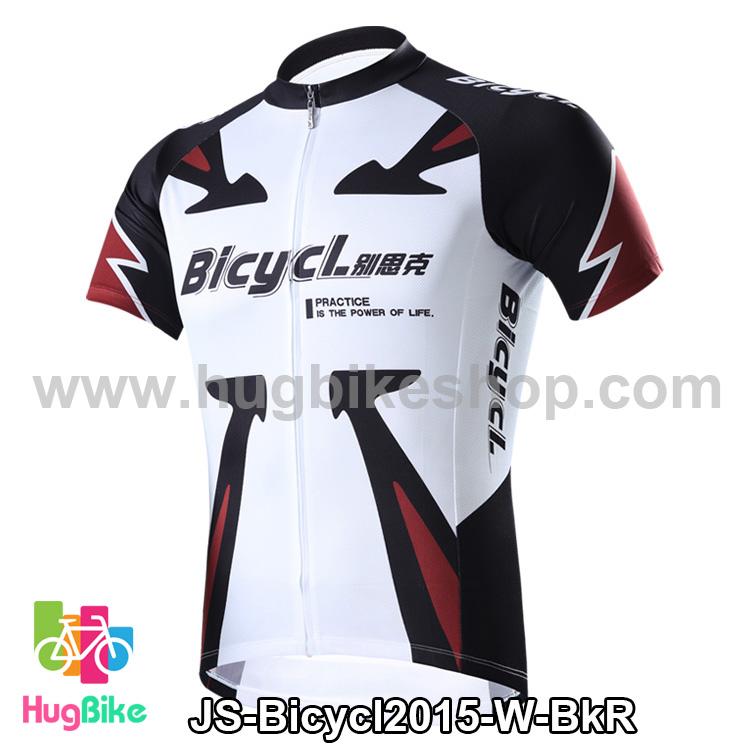 เสื้อจักรยานแขนสั้นทีม Bicycl 2015 สีขาวลายดำแดง สั่งจอง (Pre-order)