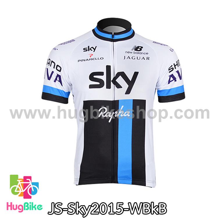 เสื้อจักรยานแขนสั้นทีม Sky 15 สีขาวดำฟ้า สั่งจอง (Pre-order)