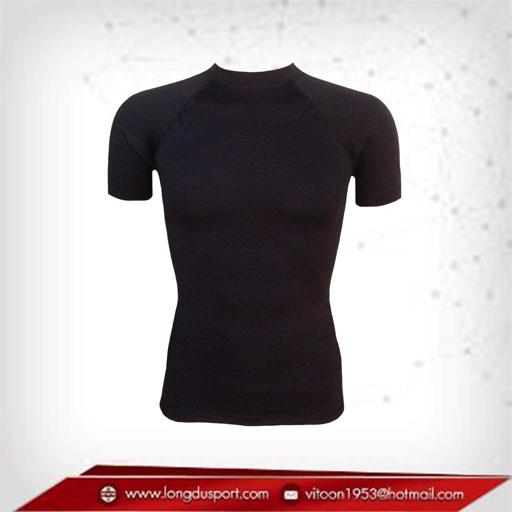 เสื้อรัดกล้ามเนื้อ แขนสั้นคอกลม สีดำ เหลือ Size M L