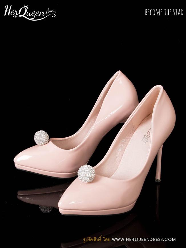 เช่ารองเท้า &#x2665 รองเท้าส้นสูง 4 นิ้ว หนังสีชมพู ติดเพชรทรงกลม เรียบหรู น่ารัก