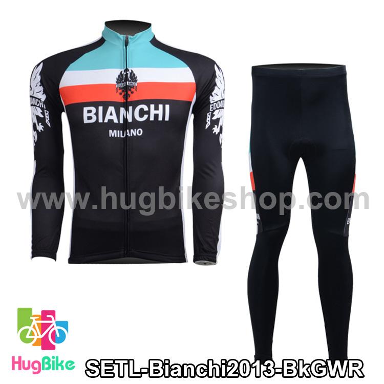 ชุดจักรยานแขนยาวทีม Bianchi 13 (01) สีดำเขียวขาวแดง สั่งจอง (Pre-order)