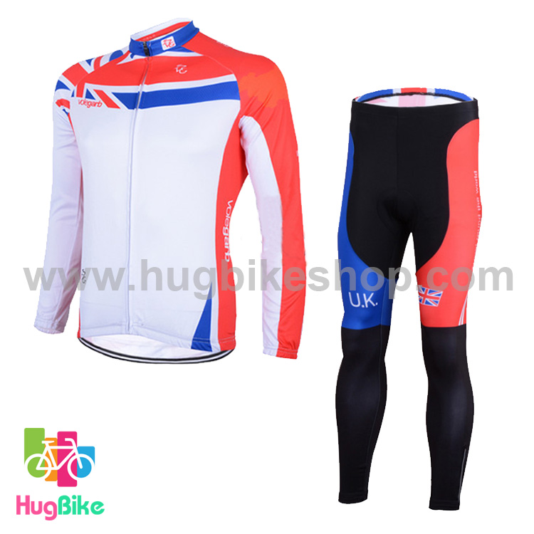 ชุดจักรยานแขนยาว Volegarb 16 (10) สีขาวแดงลายธงชาติอังกฤษ
