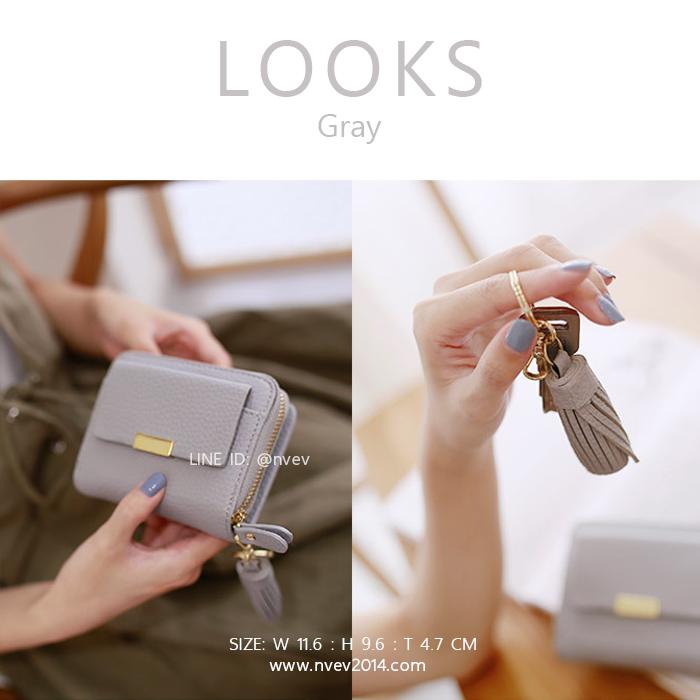 กระเป๋าสตางค์ผู้หญิง ใบสั้น รุ่น LOOKS สีเทา