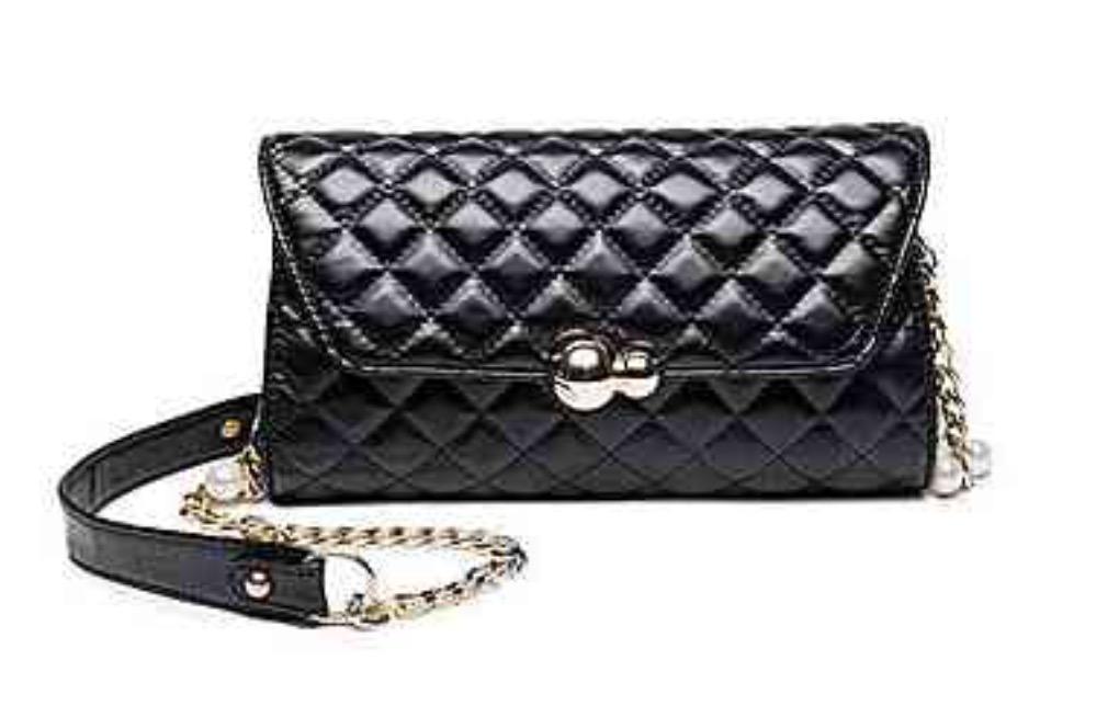 กระเป๋าหนังแกะ pomily ดำ