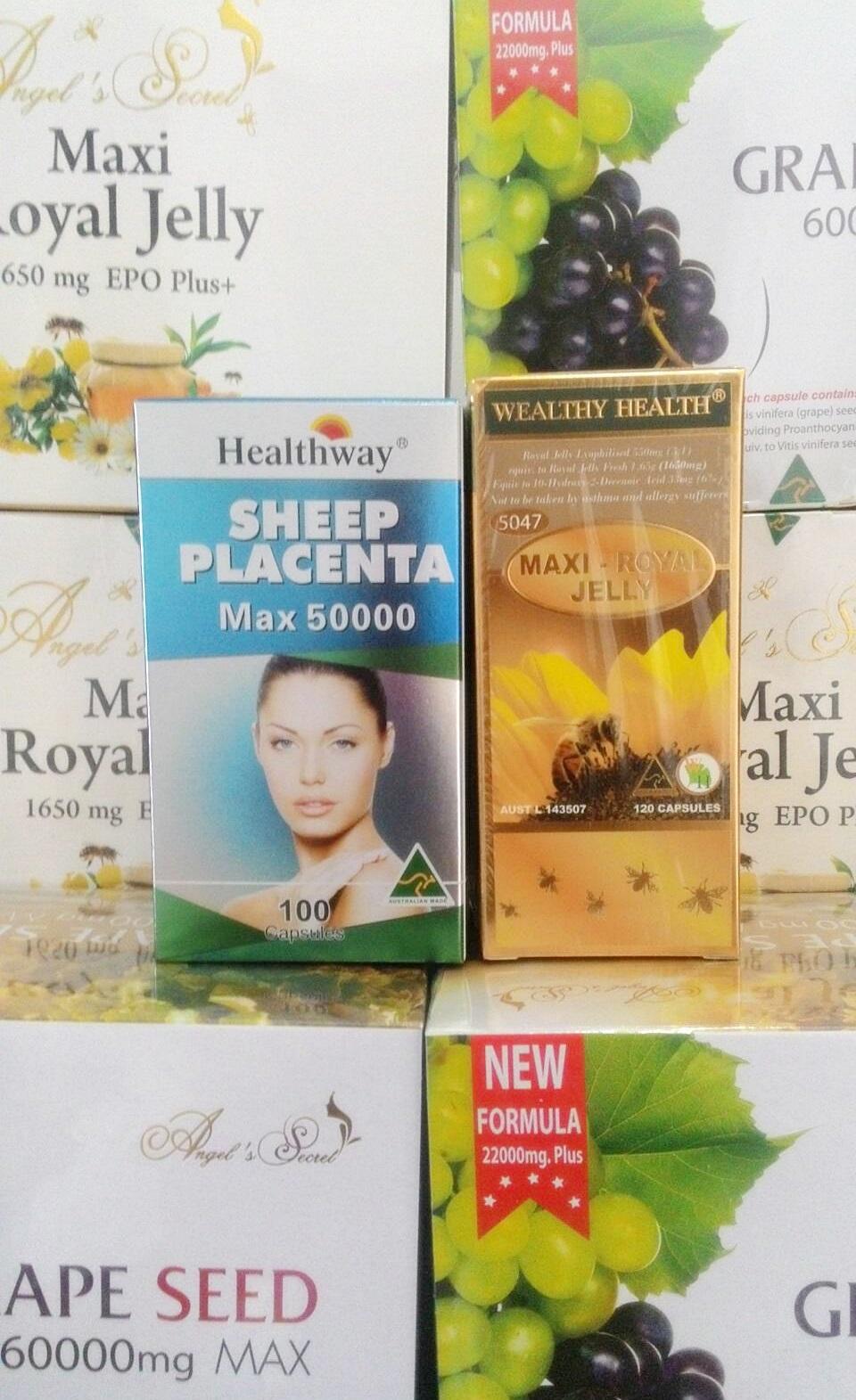 รกแกะ healthway 50,000 mg.max 30 เม็ด + นมผึ้งwealthy health maxi6%. 30 เม็ด เซตทดลองผิวกระจ่างใส อ่อนเยาว์