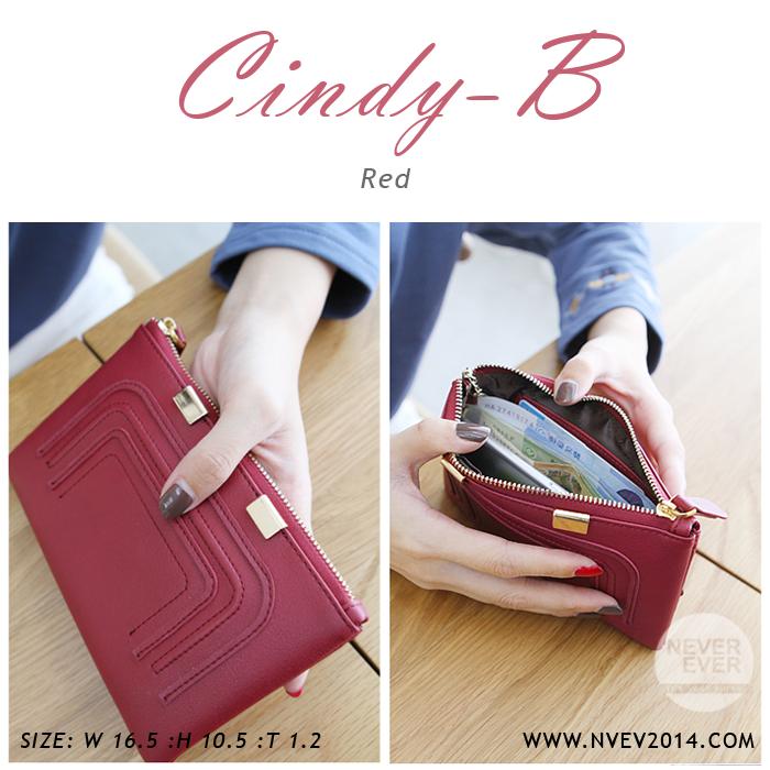กระเป๋าสตางค์ผู้หญิง ทรงถุง สีแดง รุ่น CINDY-B