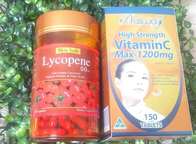 สารสกัดจากมะเขือเทศ 30 เม็ด + วิตามินซี Ausway Vit C Max 1200 mg. 30 เม็ด