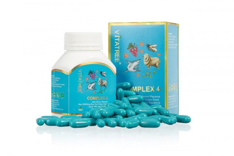 Vitatree 4 complex วิตามินรวม รกแกะ+เมล็ดองุ่น+นมผึ้ง+น้ำมันตับปลาฉลาม ทานไม่ถึง ผิวใสขึ้นชัดเจน ขนาด 60 เม้ด