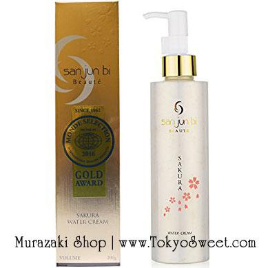 พร้อมส่ง ** NEW San Jun Bi - Water Cream SAKURA ครีมบำรุงผิว ใช้คู่กับเจลขัดหน้า มีส่วนผสมของทองคำเปลว ไฮยารูรอน Q10 คอลลาเจน EGF ใหม่กลิ่นซากุระ