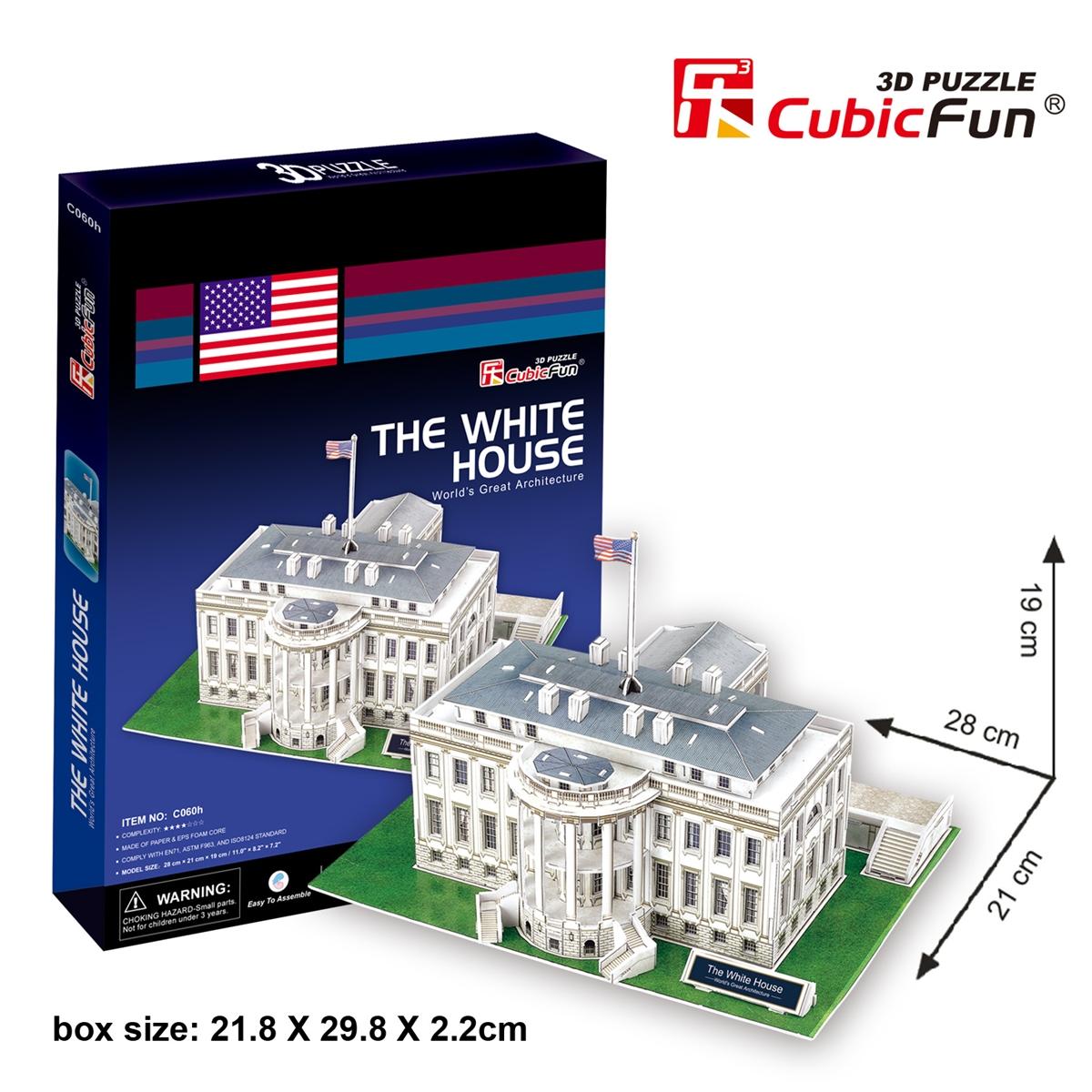 CubicFun 3D Puzzle The White House ทำเนียบขาว จิ๊กซอว์ 3 มิติ Model Size 28x21x19 cm Total 65 pcs.