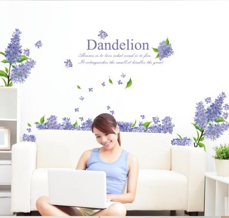 """สติ๊กเกอร์ติดผนัง หมวดดอกไม้ """"Violet Dandelion"""" ความสูง 95 cm กว้าง 180 cm"""