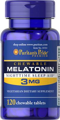 หลับสบาย ผ่อนคลายความตึงเครียด Puritan's Pride Melatonin 3 mg ขนาด 120 เม็ดอม