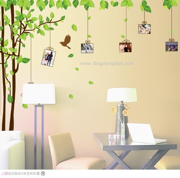 """สติ๊กเกอร์ติดผนัง ตกแต่งบ้าน Wall Sticker ขนาดใหญ่ """"ต้นไม้สีน้ำตาลกับกรอบรูป"""" ความกว้าง 300 cm ความสูง 180 cm"""