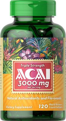 อาซาอิ ที่สุดแห่งผลไม้ บำรุงผิว สุขภาพ Puritan's Pride Triple Strength Acai 3000 mg / 120 Softgels