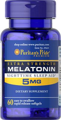หลับสบาย ผ่อนคลายความตึงเครียด Puritan's Pride Melatonin 5 mg ขนาด 60 Softgels