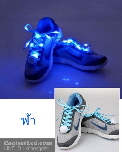 เชือกรองเท้าไนล่อนเรืองแสง มีไฟ Led กระพริบ แบบสีเดียว ทำจากเชือกรองเท้าไนล่อน