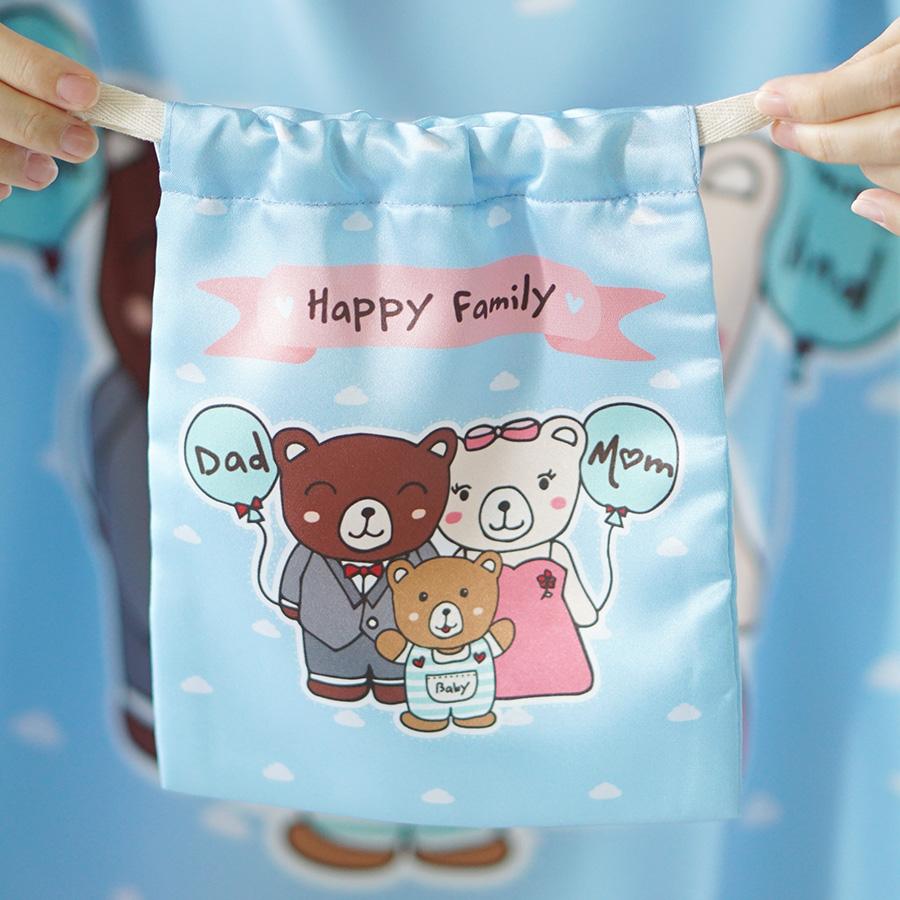 ถุงผ้าซาติน ลาย Teddy Family
