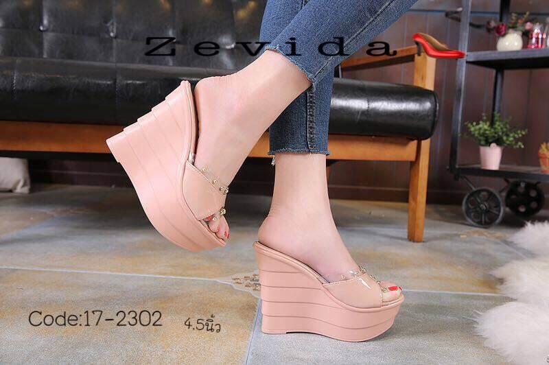 รองเท้าส้นเตารีดสวมแต่งหมุด (สีชมพู)