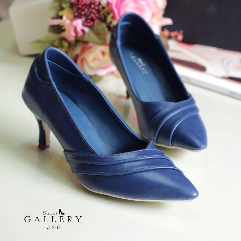 รองเท้าส้นสูงหนังนิ่ม (สีน้ำเงิน)