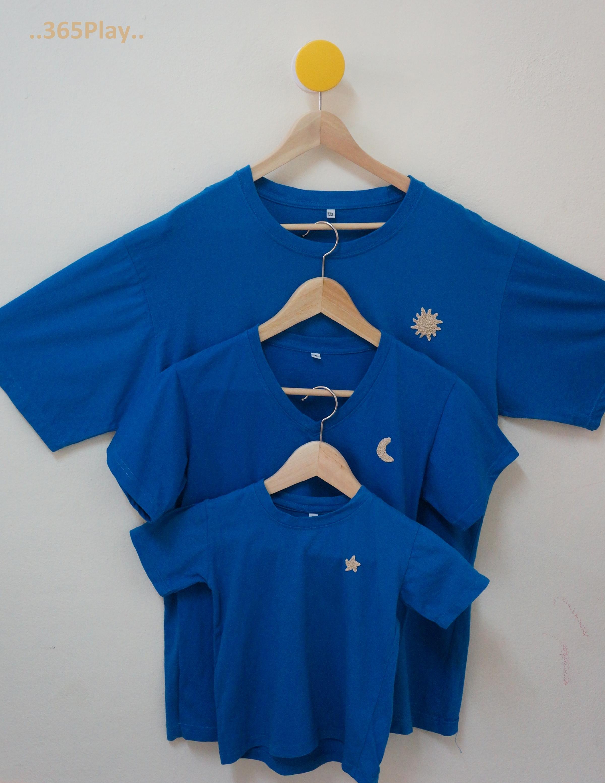 เสื้อครอบครัว ไซส์ใหญ่ไปถึงไซส์เล็ก ..พร้อมส่ง...สีน้ำเงิน เซ็ทพระอาทิตย์..พระจันทร์..ดาว