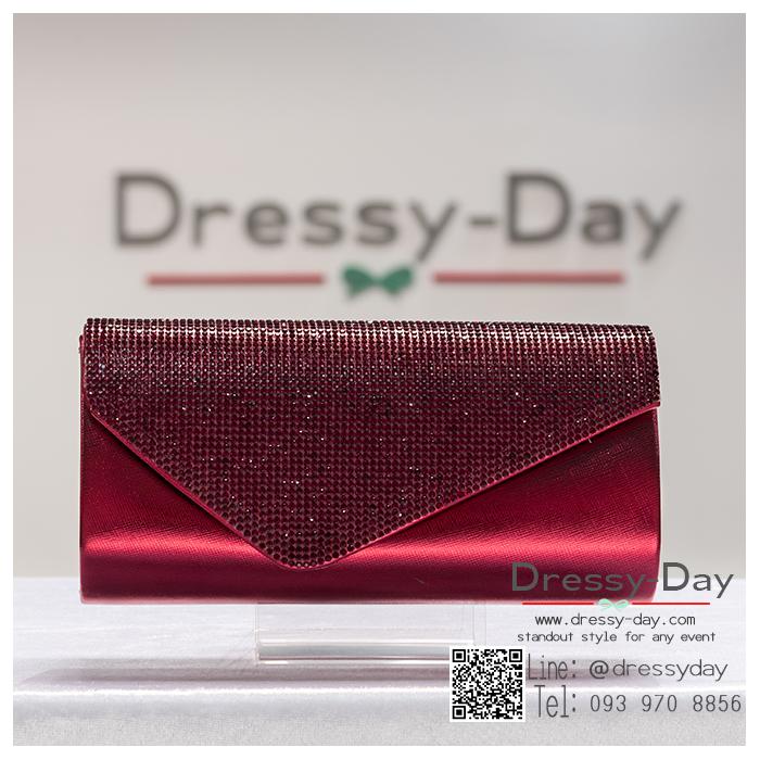 กระเป๋าออกงาน TE071 : กระเป๋าออกงานพร้อมส่ง สีแดง ดีเทลเพชร สุดหรู ราคาถูกกว่าห้าง ถือออกงาน หรือ สะพายออกงาน สวย หรู ดูดีเริ่ดมากค่ะ
