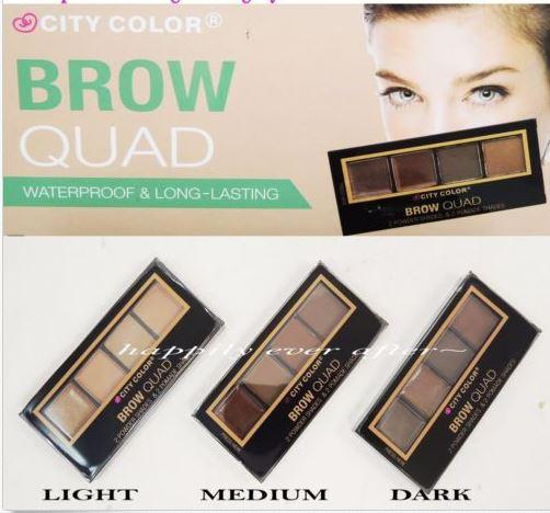 City Color Brow Quad Waterproof & Long Lasting Eyebrow Kit พาเลทเขียนคิ้ว 4 สี มีเนื้อครีม 2 สี และเนื้อฝุ่น 2 สี ให้เขียนคิ้วได้สีชัดติดทนนาน กันน้ำกันเหงื่อ ให้สีคิ้วที่เป็นธรรมชาติ มีพร้อมส่ง 3 โทนสีเพื่อกับเข้ากับสีผมที่แตกต่างกันคะ