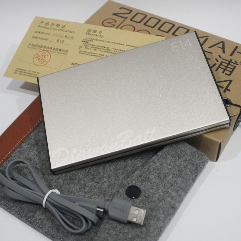 พาวเวอร์แบงค์ eloop e14,แบตสำรอง eloop e14,powerbank 20000mah ของแท้ 100% (สีทอง)