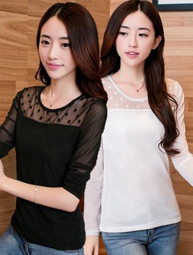 เสื้อแฟชั่น ผ้าชีฟองแต่งผ้าตาข่ายลายจุด มี 2 สี