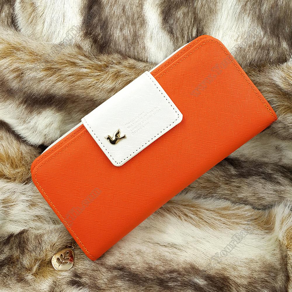 กระเป๋าสตางค์ผู้หญิง ทรงยาว รุ่น Cheer Orange/White